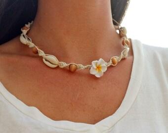 Shell  Necklace, Hemp Flower Necklace,   Beach  Jewelry, Cowrie Shell Choker