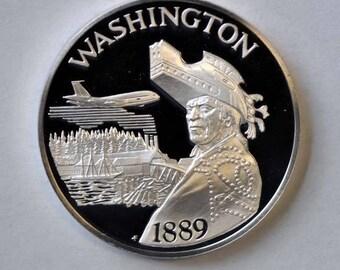 "1976 Franklin Mint Sterling Proof State 1 1/2"" Bicentennial Medal Washington 1oz"