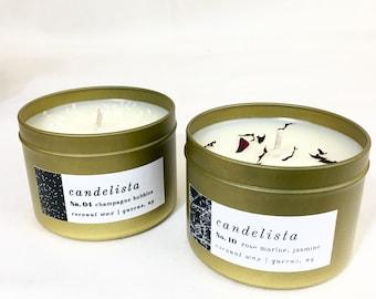 6 oz Gold Tin  / Coconut Wax Candle