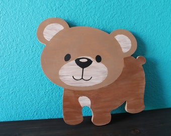 Woodland animals, woodland baby shower, little bear cutout, woodland friends, forest animals, kids room decor, little brown bear