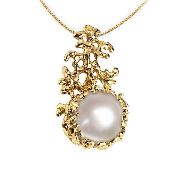 Coral gold pearl pendant necklace gold pearl necklace aloadofball Gallery