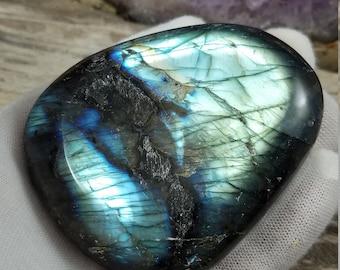 Labradorite Palm Stone - Polished Labradorite Crystal - Polished Stone Freeform - Third Eye Chakra Healing Stones and Crystals - Reiki Stone