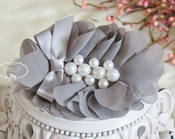 New: Pearlynn Collection - 2 pcs Silk Chiffon Fabric Flowers with Pearls - MEDIUM GRAY floral embellishments Layered Bouquet flowers