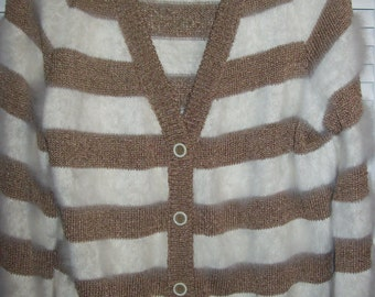 Vintage Angora, Silk, Wool Cardigan by Joanie Rome!  Outstanding Sweater Size Medium