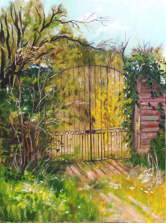 Painting wall art Oil on hardboard Old Gate Drawing Rusty gate