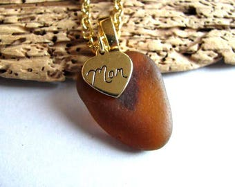 Mothers Gift Beach Glass Jewelry - Amber Brown - Sea Glass Necklace - Personalized Mom - PEI pure sea glass - mermaid tears ocean gifts
