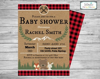 Lumberjack baby shower invitation, rustic woodland baby shower invitation, buffalo plaid baby shower invitation, animal invitation