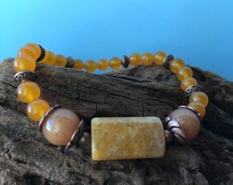 Autumn Gemstone Bracelet, Jade Bracelet, Beaded Bracelet, Beaded Stretch Bracelet, Boho, Stacking Bracelet, Beaded Elastic Bracelet