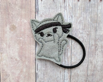 Ninja Cat Accessory, Gray Embroidered Acrylic Felt, Choice of Headband, Pin, Magnet, Hair Clip, Ponytail, Shoe Clip, Barrette, Paper Clip