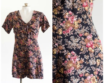 1990s short sleeve floral romper