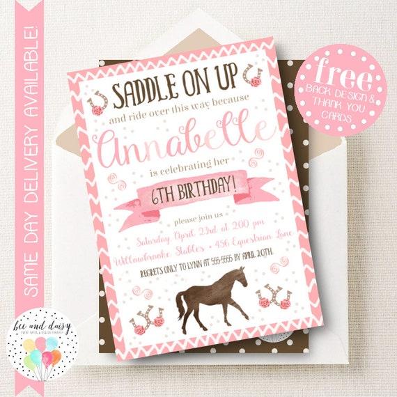 Girls horse invitation pink horse birthday invitation horse like this item filmwisefo Choice Image