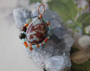 Calsilica Jasper Copper Wire Wrapped Multi Gemstone Pendant