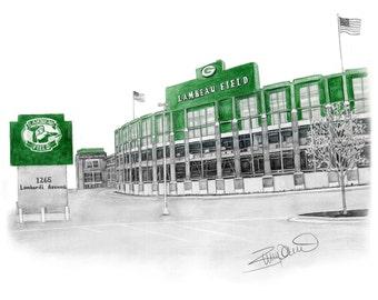 "Green Bay Packers football Lambeau Field Print - 11x14"""