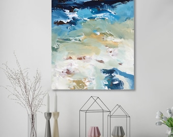 NEW Hand-painted Original Abstract Painting - FREE Delivery - Abstract Art Oil Painting on Canvas, Canvas Art Ready To Hang Painting Blue