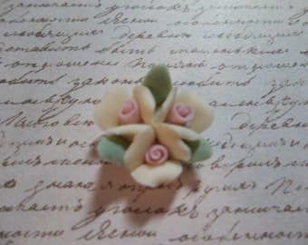 Ceramic Roses - 18mm Yellow Triple Flower Cluster - Flower Cameos - Green Leaves - Pink Center - Flat Back Cabochons - Qty 2