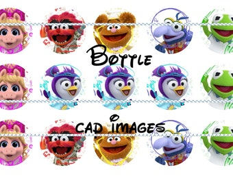 """Muppets babies 2018 4x6 printables - 1"""" circles, bottle cap images, stickers  reboot summer"""