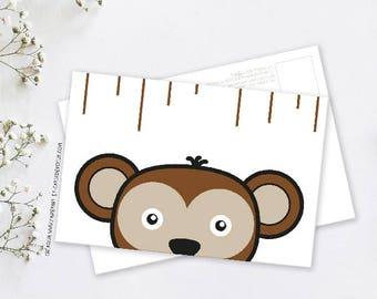 Map postcard deco monkey Gabin