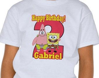 SpongeBob Birthday Shirt  Boy T-Shirt for ages 1,2,3,4,5,6,7,8,9,10.
