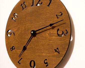 Large wall clock, Wooden wall clock, Wood clock, Wall clock, Modern large clock, Kitchen clock, Rustic clock
