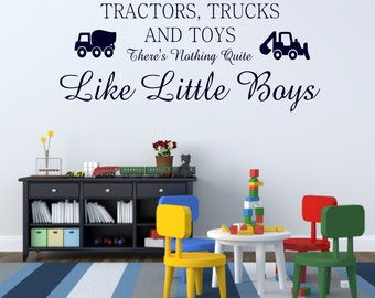 Boy Bedroom Decal Tractors Trucks and Toys Wall Decal Vinyl Lettering Boys Playroom Decal Boy Cave Decal