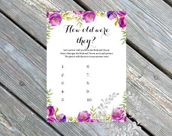 Instant Download- How old were they, Wedding shower game, bridal shower game, shower bingo custom, purple lavender flowers, spring