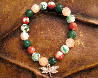 Dragon Fly Bracelet with silver charm