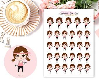 Amelie kawaii GYM/WORK OUT planner stickers || Erin Condren Life Planner, Kikki K, Plum Paper Planner