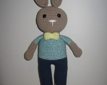 Handmade, Crochet Toy, Soft Toy, Stuffed Animal, Amigurumi Bunny - Hershel