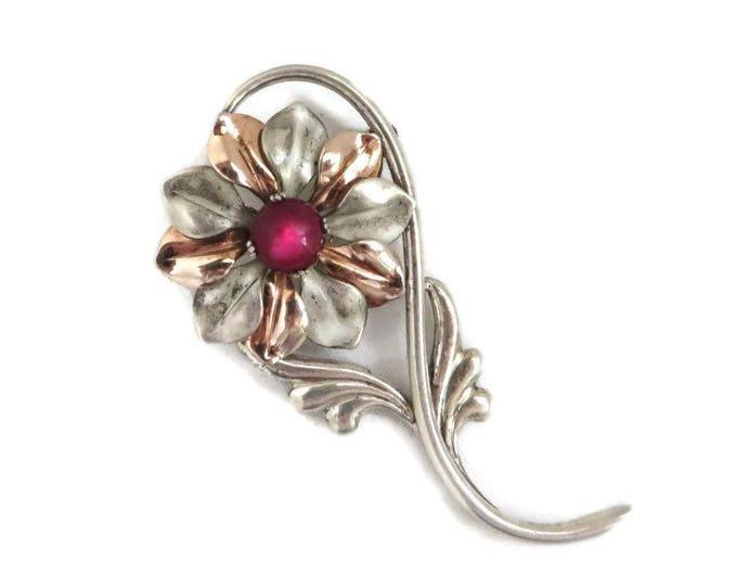 Sterling Flower Brooch - Vintage Signed Kreisler Sterling Silver Pin