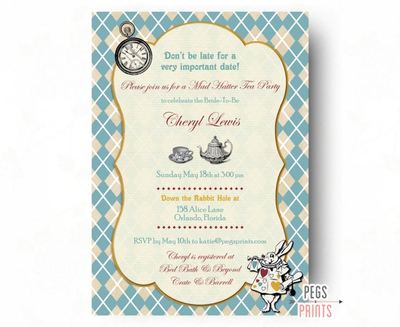 Mad hatter tea party invitation mad hatter bridal shower like this item filmwisefo Images