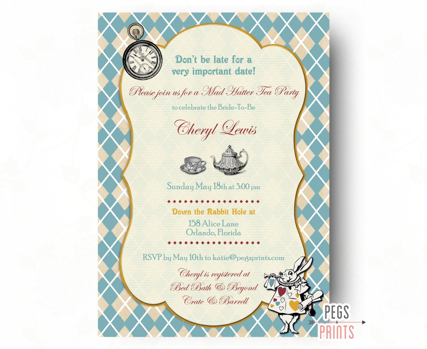 Mad Hatter Tea Party Invitation // Mad Hatter Bridal Shower