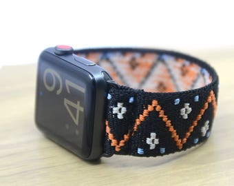 Embroidery Polyline Pattern Black Stretch Elastic Apple Watch Band 38mm 42mm - EPLB