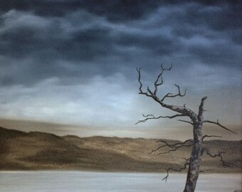 """Lone Tree original oil painting moody landscape cloudy sky rocky beach by Sarah Lynch 16""""x20"""""""