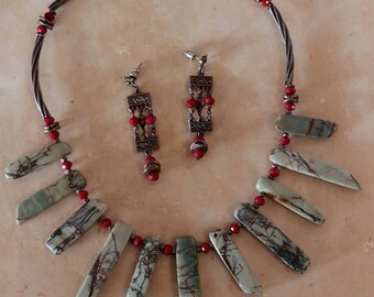 She is Fierce - Necklace and Earring set with Picture Jasper daggers and antique copper accents