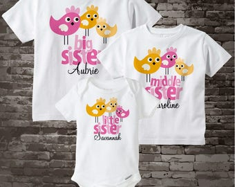 Big Sister Little Sister Outfits, Big Sister, Middle Sister, Little Sister Birdie Shirts Onesie Personalized with child's name 09082012a