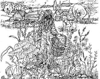 Adult Coloring Page Instant Download PrintDetailed Pen Drawing Color Art For AdultsTeensChildren Country LandscapeFarmFriends