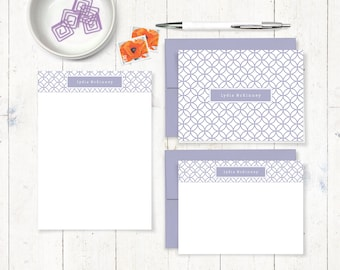 complete personalized stationery set - INTERLOCKING CIRCLE PATTERN - personalized stationary set - note cards - notepad - fun stationery