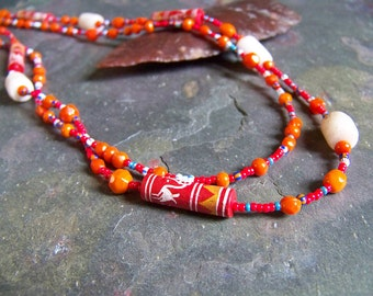 Tribal Bird Necklace | Painted Pottery Bead and Ancient Alabaster Beaded Mexican Jewelry | Double Stranded Clay Necklace in Red and Orange