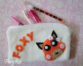 Cute Fox Pouch, Zipper Pouch, Pencil Pouch, Makeup Pouch, Pencil Case, Foxy