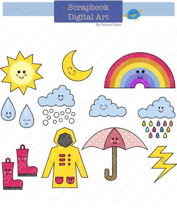 Rainy Day Clip Art: Kawaii Weather Clip Art Rainy Day Clipart Rain And Clouds