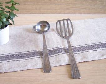 Vintage flat spatula and sauce ladle nickalumin | French kitchen utensil 1950