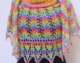 Shawl. Lace shawl. Hand knitted shawl. Multicolor wrap. Wrap