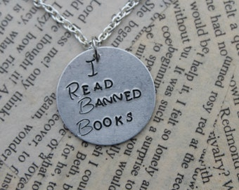 I Read Banned Books Metal Stamped Necklace - Book jewelry - bookworm necklace