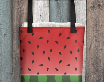 """Watermelon Tote Bag - Red Green Design - All Over Print 15"""" Tote Bag - Made to Order"""