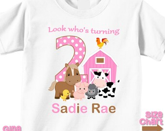Personalized Barnyard Farm Animals Girl Pink Party Shirt T-shirt Bodysuit 1st 2nd 3rd 4th 5th - Shirt in White, Grey, Blue, Pink