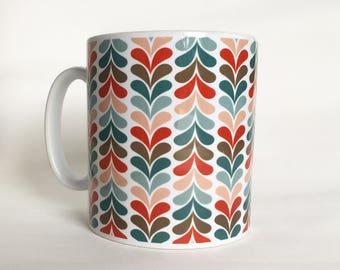 Patterned Retro Mug - Turquoise, Red, Pink, Blue, Grey