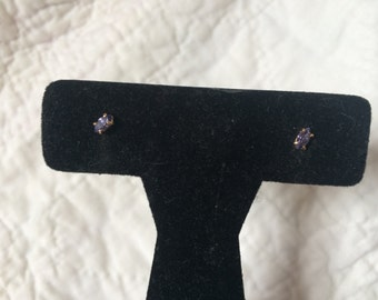Vintage AVON Simulated Amethyst and Goldtone Earrings