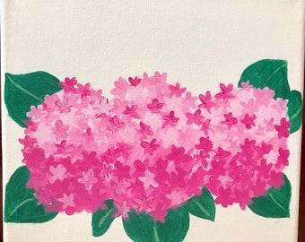 Pink Hydrangea acrylic painting | 8x8