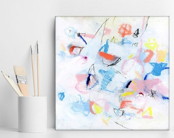 """Small abstract painting Acrylic paintings, Original Art, Small Canvas Art gift white pink blue  """"Tiny Angels 01"""" by Duealberi"""