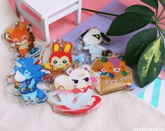 Glittery Animal Crossing Keychains Featuring Marshal, Stitches and more!